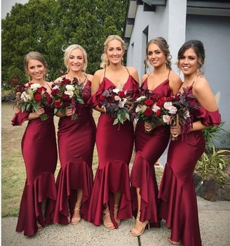 147a9a4e Front Short And Long Back Gorgeous V Neck Summer Burgundy Bridesmaid Dresses