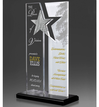 Hot Selling Design Clear Glass Trophies With Star