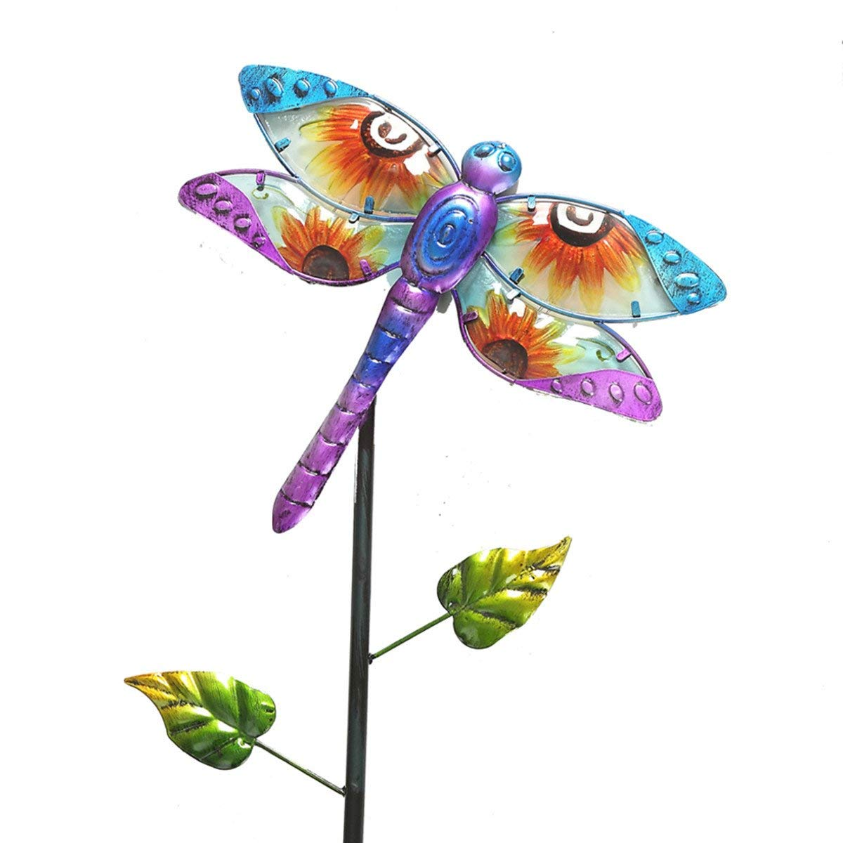 "CEDAR HOME Solar Garden Stake Outdoor Figurine LED Light Cute Metal Stick Art Ornament Decor for Lawn Yard Patio, 11"" W x 2"" D x 52"" H, Dragonfly"
