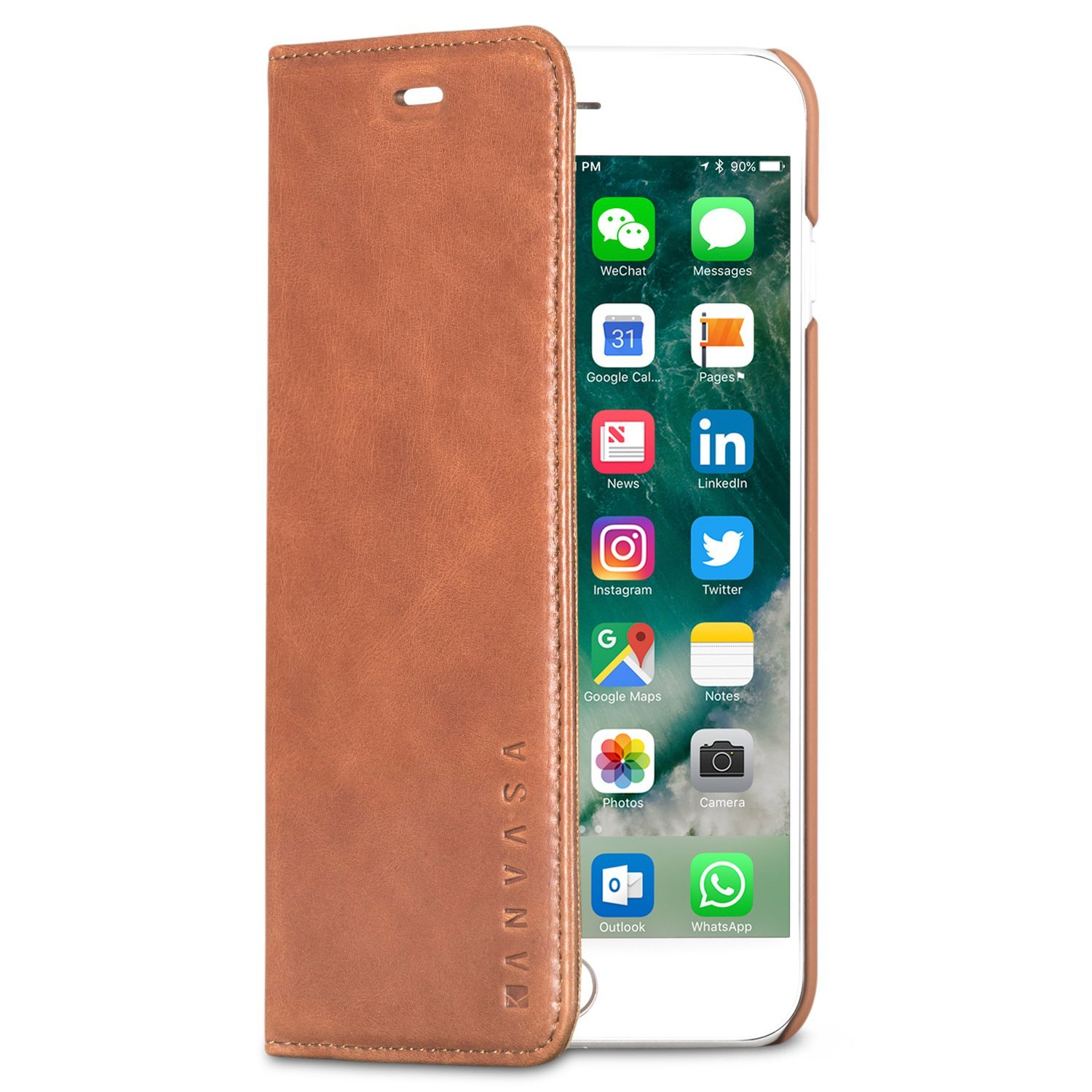 "KANVASA iPhone 7 Plus Leather Case Flip Cover ""Pro"" Brown - Premium Genuine Leather Wallet Book Folio Case for the Original iPhone 7 Plus (5.5 inch) - Ultra Thin with Magnetic Closure"