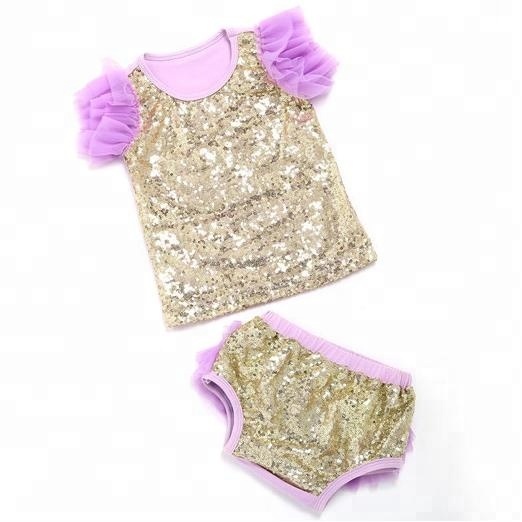 New latest style kids clothes sets wholesale ruffle chevron design baby sequin outfits