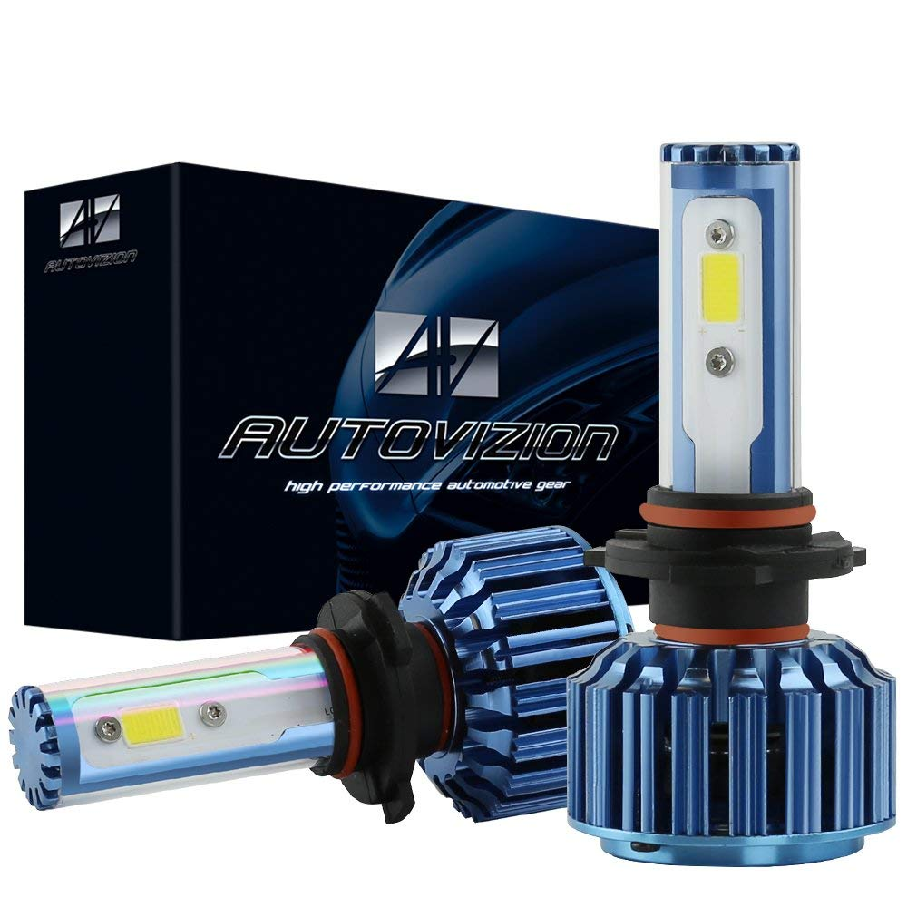 AUTOVIZION 9005(HB3/9145/9055) LED Headlight Bulb for any 9005 Halogen Headlight Bulb upgrade to LED (1 pair, Ocean Blue)