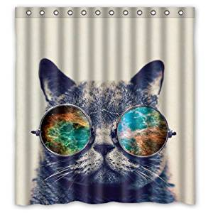 Get Quotations Eco Friendly Sunglasses Cat Galaxy Hipster Theme Funny Wear Color Shower Curtain