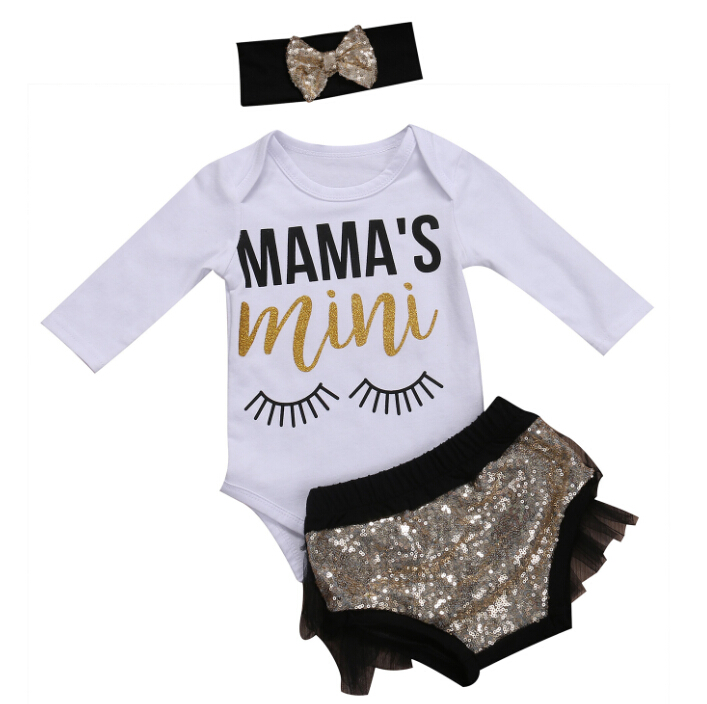 Baby Girl Tops Bodysuits Long Sleeve Sequins Shorts Outfits 3Pcs Set Clothing Newborn Baby Girls Clothes Sets Cotton
