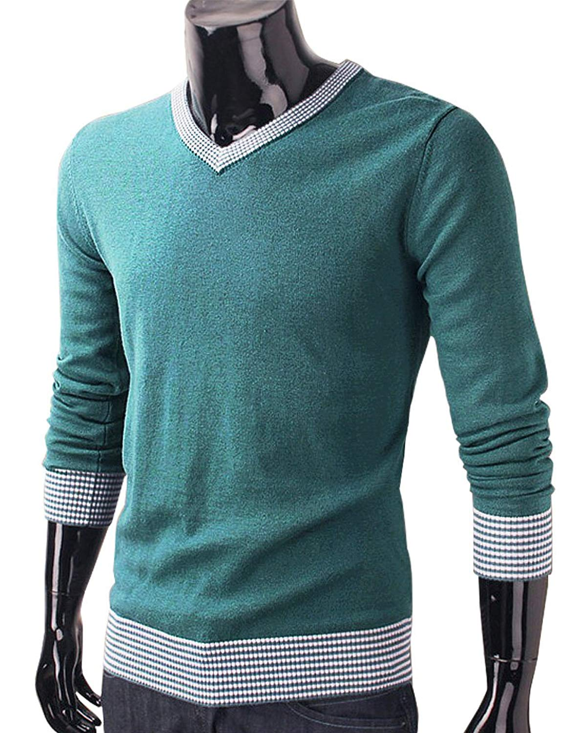 f82bcccfc7ba DELUXSEY Wool Blend Casual Sweaters for Men - Mens V Neck Sweaters and  Pullovers