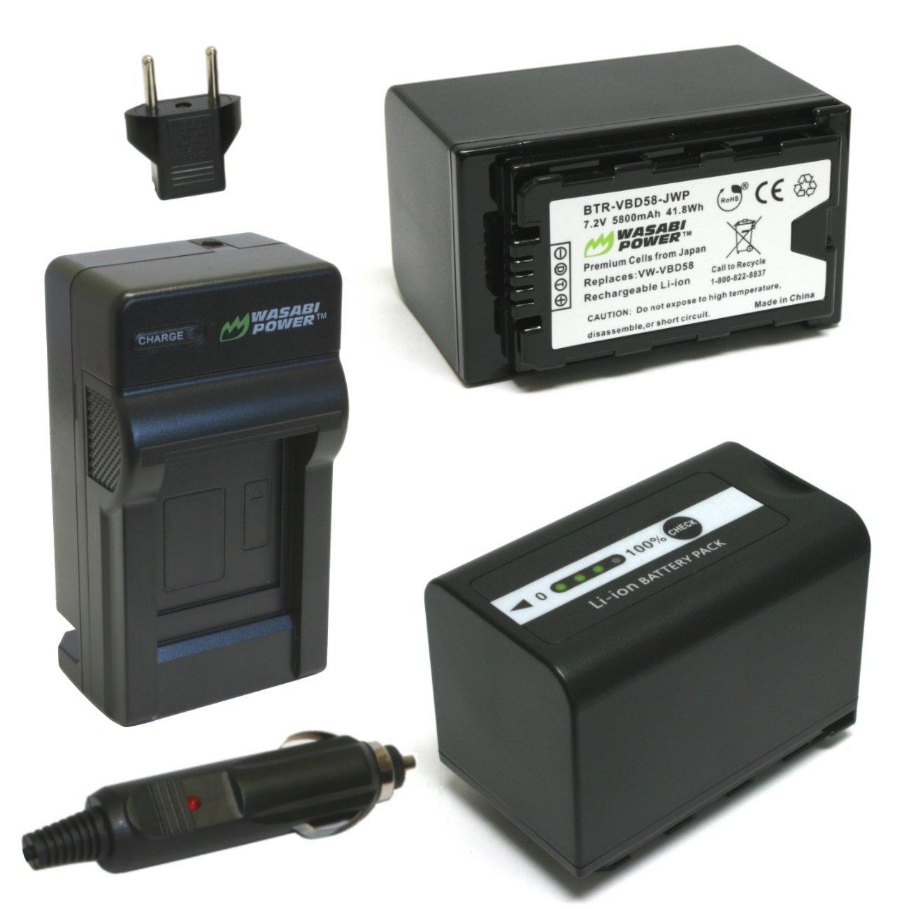 Wasabi Power 5800mAh Battery (2-Pack) and Charger for Panasonic VW-VBD58, AG-VBR89G and Panasonic AG-3DA1, AG-AC8, AG-DVX200, AG-HPX255, AG-HVX201, AJ-PCS060, AJ-PX298, HC-MDH2, HC-X1000, HDC-Z10000