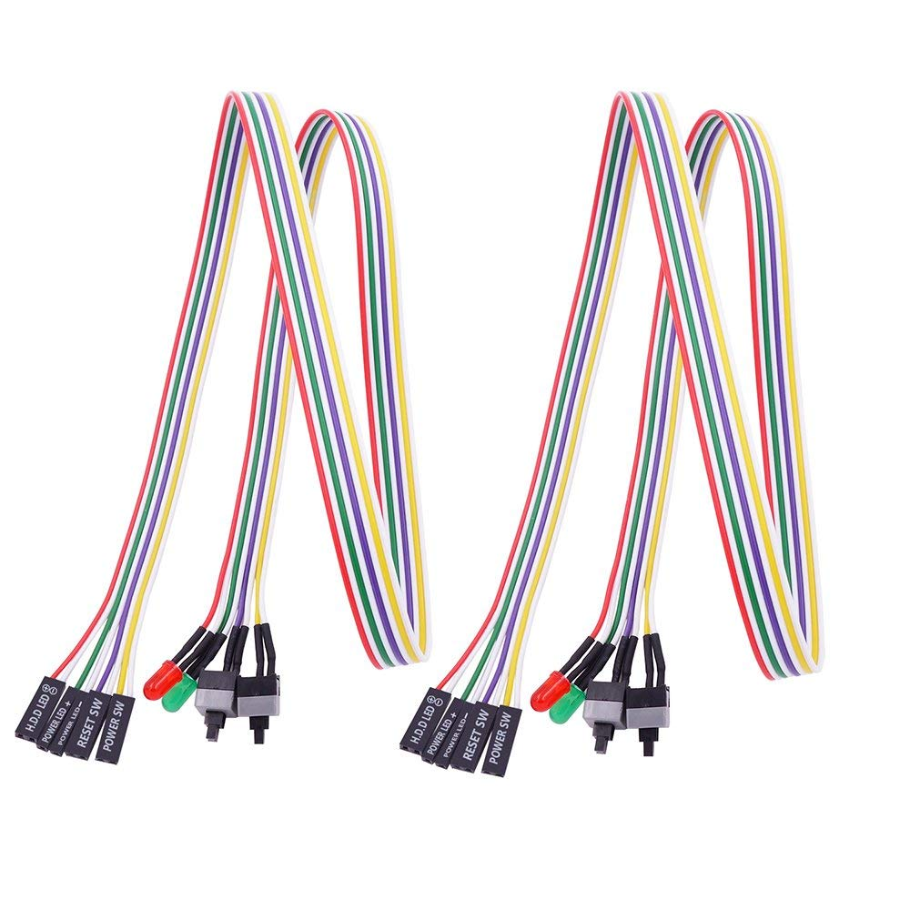 Fancasee (2 Pack) PC Motherboard Power Switch Button Cable PC Computer Internal Power/Reset Button Switch Cable Cord Wire with 2 LED Light 2 On/Off Button Switch for ATX Computer Case (26 inch)