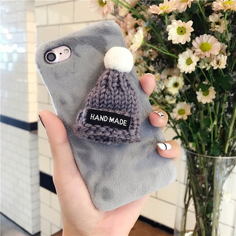 Woolen Hat Fluff Hard PC Case Mobile Phone Case For iPhone 8 8plus 7 7plus 6 6plus