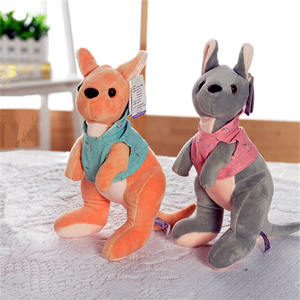 Custom mini kangaroo soft plush toy in cute clothing for kids toy dolls