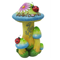polyresin hot sell garden decoration mushroom with solar light