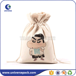 Wholesale drawstring natural organic canvas jewelry pouch with logo
