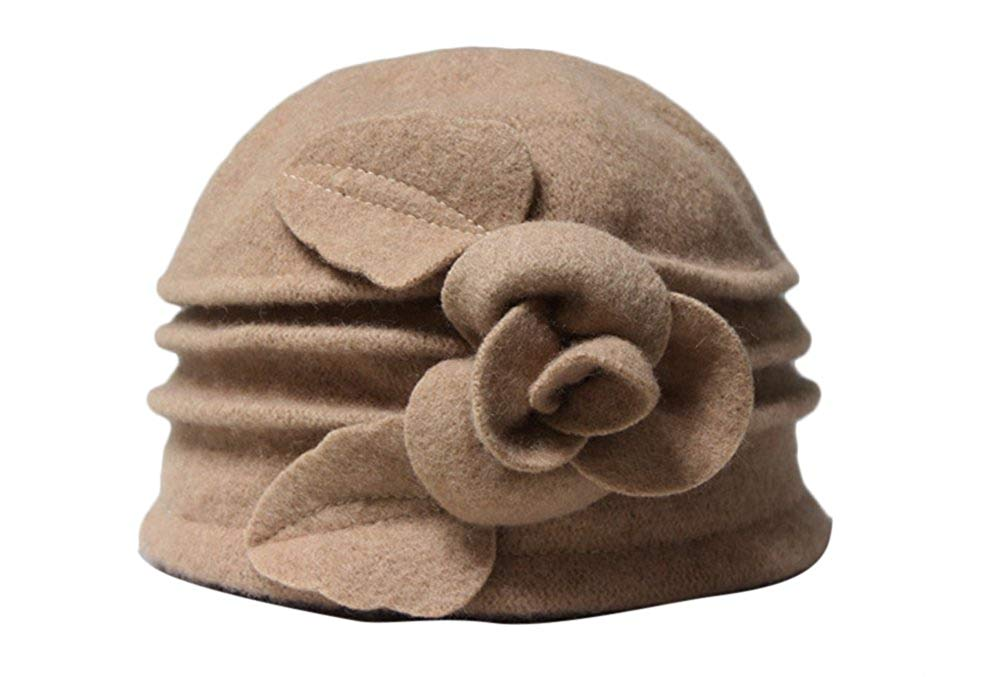 b2f09c8465cc4 Ealafee Women 100% Wool Solid Color Round Top Cloche Beret Cap Flower  Fedora Hat
