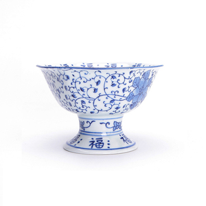 Japanese style blue and white porcelain cake plate footed fruit dessert tray cake stand party platter 6.5 inch salad bowl