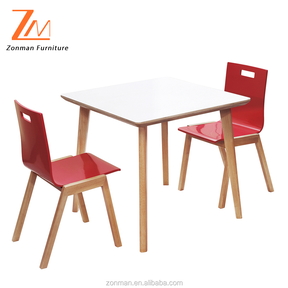 Wood Table and Red Chairs, Fast Food Restaurant Dining Table Set