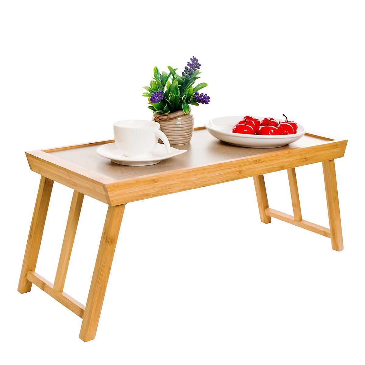 Bed Tray Table, Foldable Bamboo Breakfast Laptop Desk for Food Serving, Bed Reading, TV Watching, Outdoor Camping, Children Gaming and Handwork