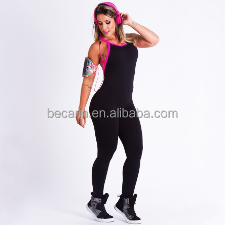 Womens Plus Size Gym Running One Piece Black Jumpsuit