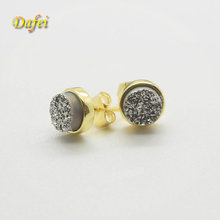 Newest Round Natural Silver Druzy stone titanium/18K Gold Stud Earrings