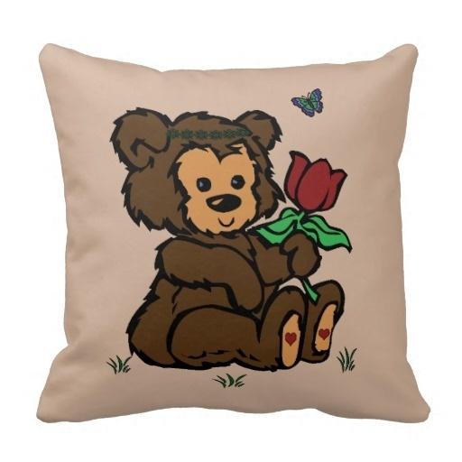 Outstanding Hippie Bear Headband Flower Butterfly Throw Pillow Case (Size: 45x45cm) Free Shipping