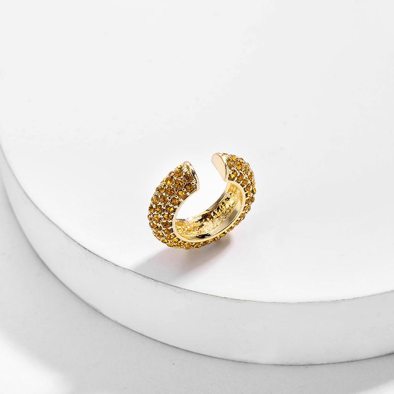 Korean Design Gold Plated No Ear Hole Ear Clip Earrings Rhinestone фото