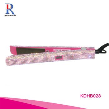custom LCD display hair straightener luxury bling rhinestone flat iron