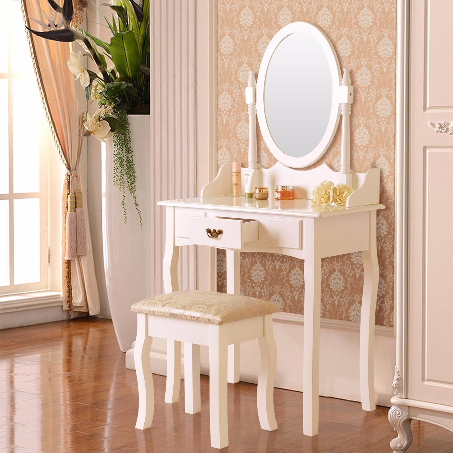 Mecor Vanity Makeup Table Set Dressing Table With Stool And Oval Mirror, White (1