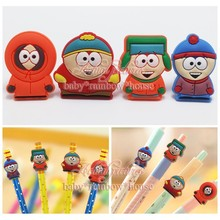 4pcs/lot South Park Pencil Cap / CasePencil Topper Writing Supplies office Stationery Gifts Pencil Accessories Kids Gifts
