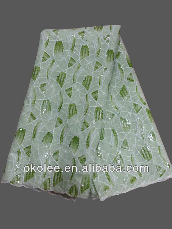 African organza lace fabric/italian lace fabric/beaded sequined lace fabric