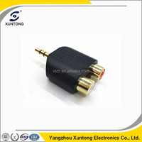 Plug to 2 RCA Jack Adapter metal Connector gold plated