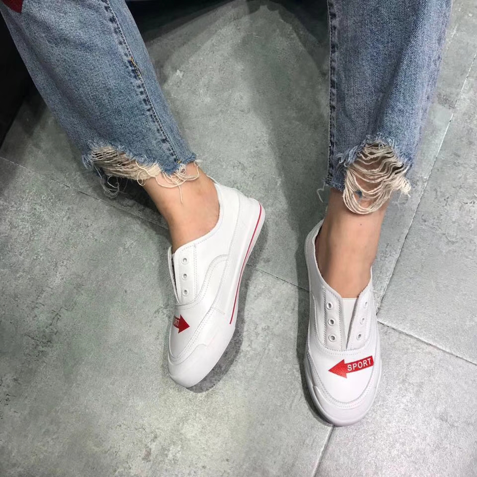 white a cowhide mouth 18 pedal casual lazy shoes flat shallow students shoes top layer Korean new qqxR6B