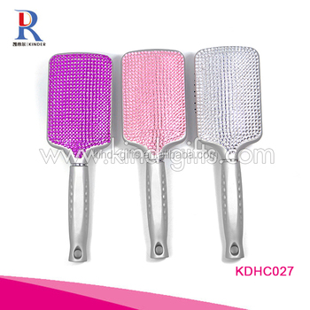 Rhinestone Jeweled Large Rectangular Massage Hair Comb Custom Logo Available Unique Cheap Paddle Hair Brush