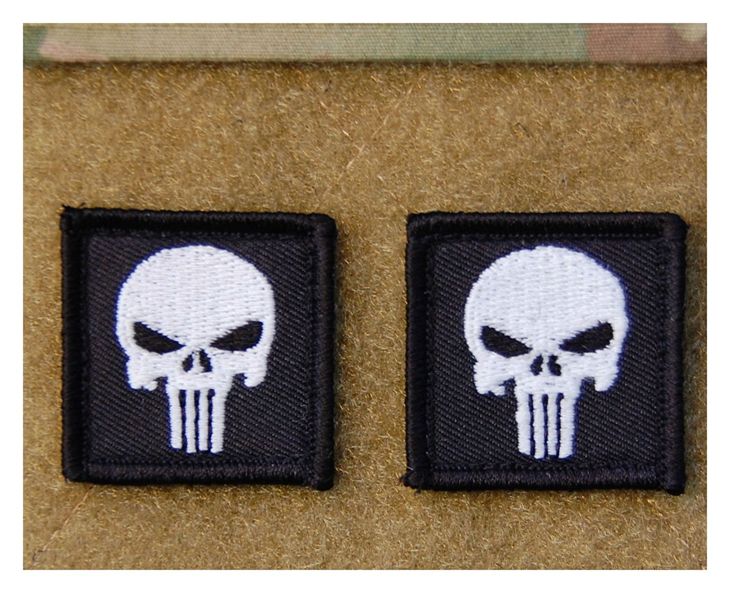 2 x Punisher Skull Mini GITD Glow In The Dark Morale Patch