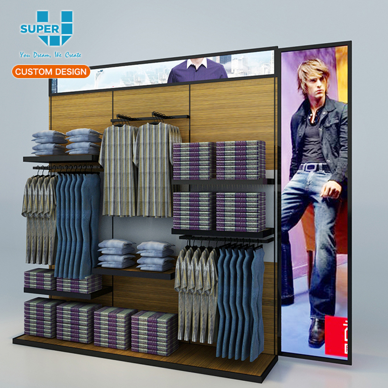 b03c795de Boutique Elegant Clothing Store Wall Mounted Display Stand For Men Clothes