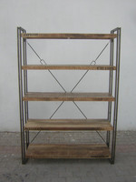 Industrial Iron Wood Book Shelf