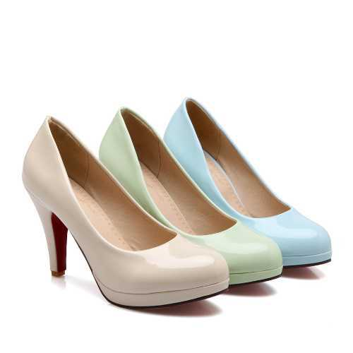 691b0ff676c8e7 Get Quotations · Pure And Fresh Red Bottom Shallow Mouth Lady Shoes Brand  Design Solid Spike Heel Shoes Round