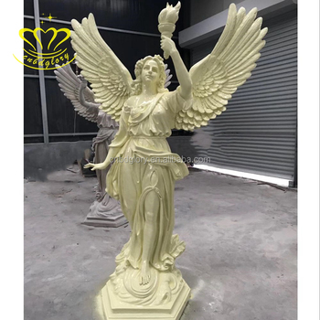 Outdoor Home Garden Decoration Chandelier Lamp With Fiberglass Life Size Bright Goddess Woman Statue