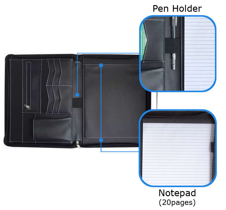 A4 PU leather folder business conference zipper portfolio