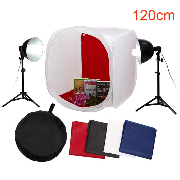 Photography Cube Tent Box Studio Soft Light Kit Equipment Set 120cm softbox white with 2 light stand