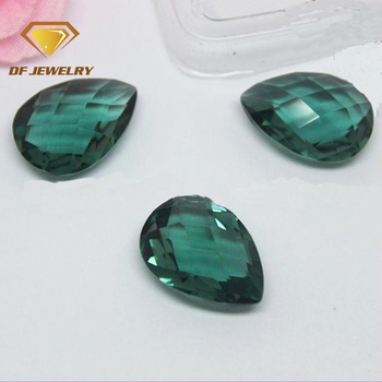 Pear shape double checkerboard dark green crystal stone hydrothermal quartz