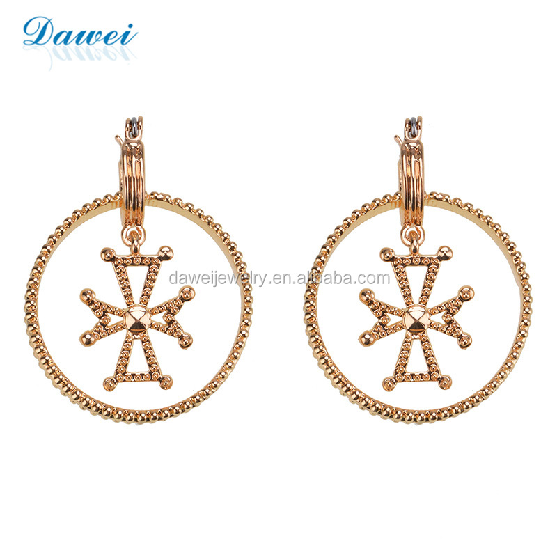 Cheap Price Wholesale Gold Plating Round Hope And Cross Metal Earrings For Women