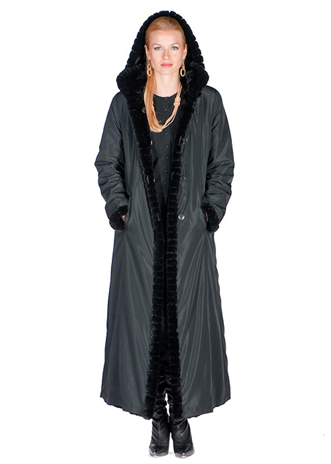 Madison Avenue Mall Natural Sheared Mink Fur Coat For Women Hooded Reversible