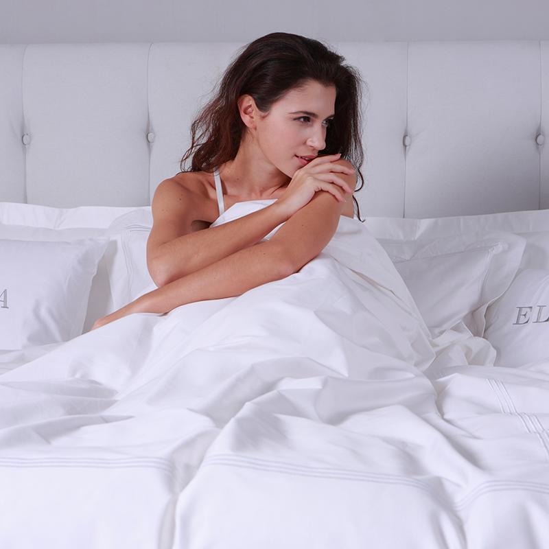 Kustom Bordir Garis Putih Single Raja 100% Kapas Bed Sheet Hotel Set Tempat Tidur