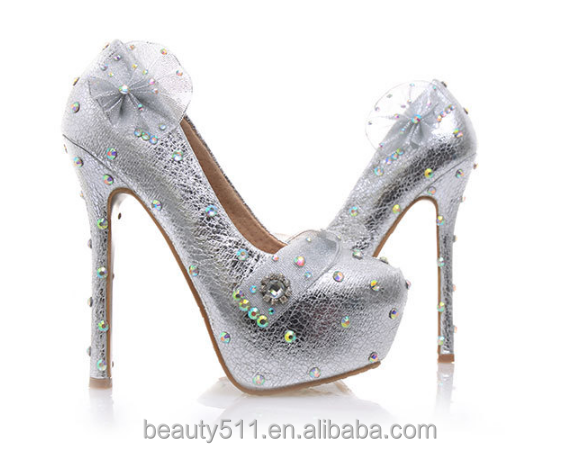silver shoes Shallow women's WS041 nightclub with mouthed wedding nightclub with shavy a a silver qPPwaIR