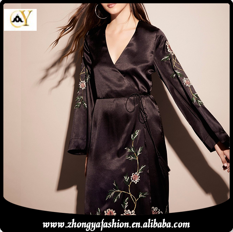 New design high quality sexy women kimono style embroidery long sleeve silk satin dress styles