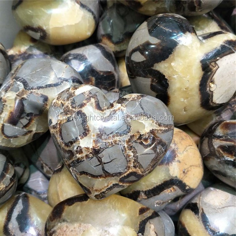 carved natural septarian quartz crystal heart shaped mineral rock stones