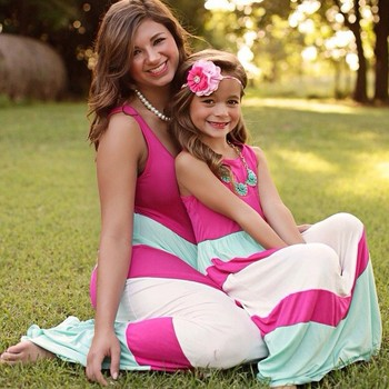 Wholesale Strip Long Dress Rose Red Green White Maxi Dress Mommy and Me  Clothing c1a3de3577