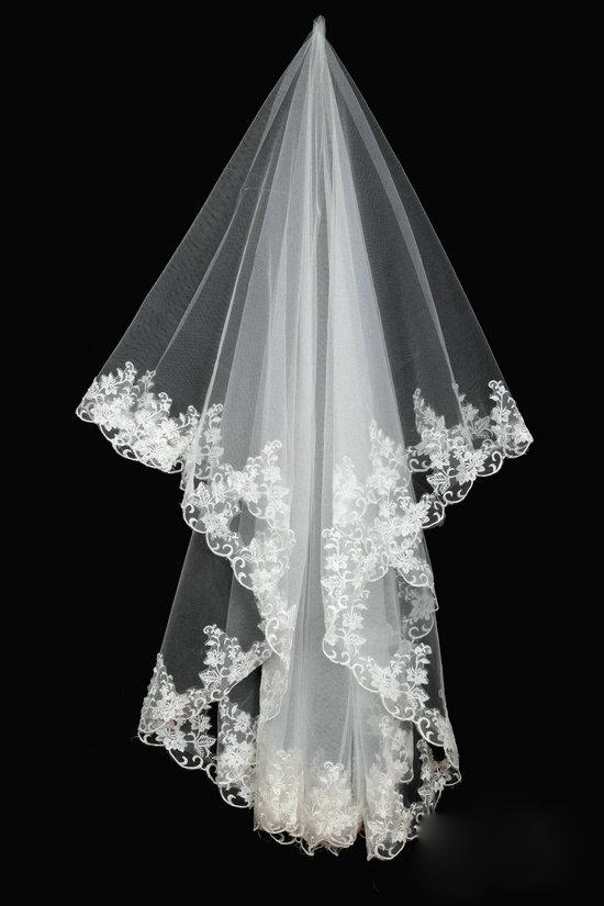 Mode Simple pas cher blanc voile de mariage Appliques