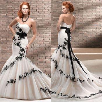 Enchanting Mermaid Sweetheart Black Lace Sash Chapel Train Flower
