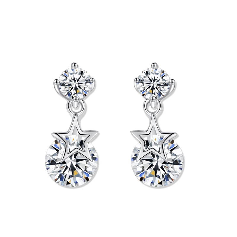 fashion earring designs double cz stones drop with star white gold plated stud earring accept custom order jewelry