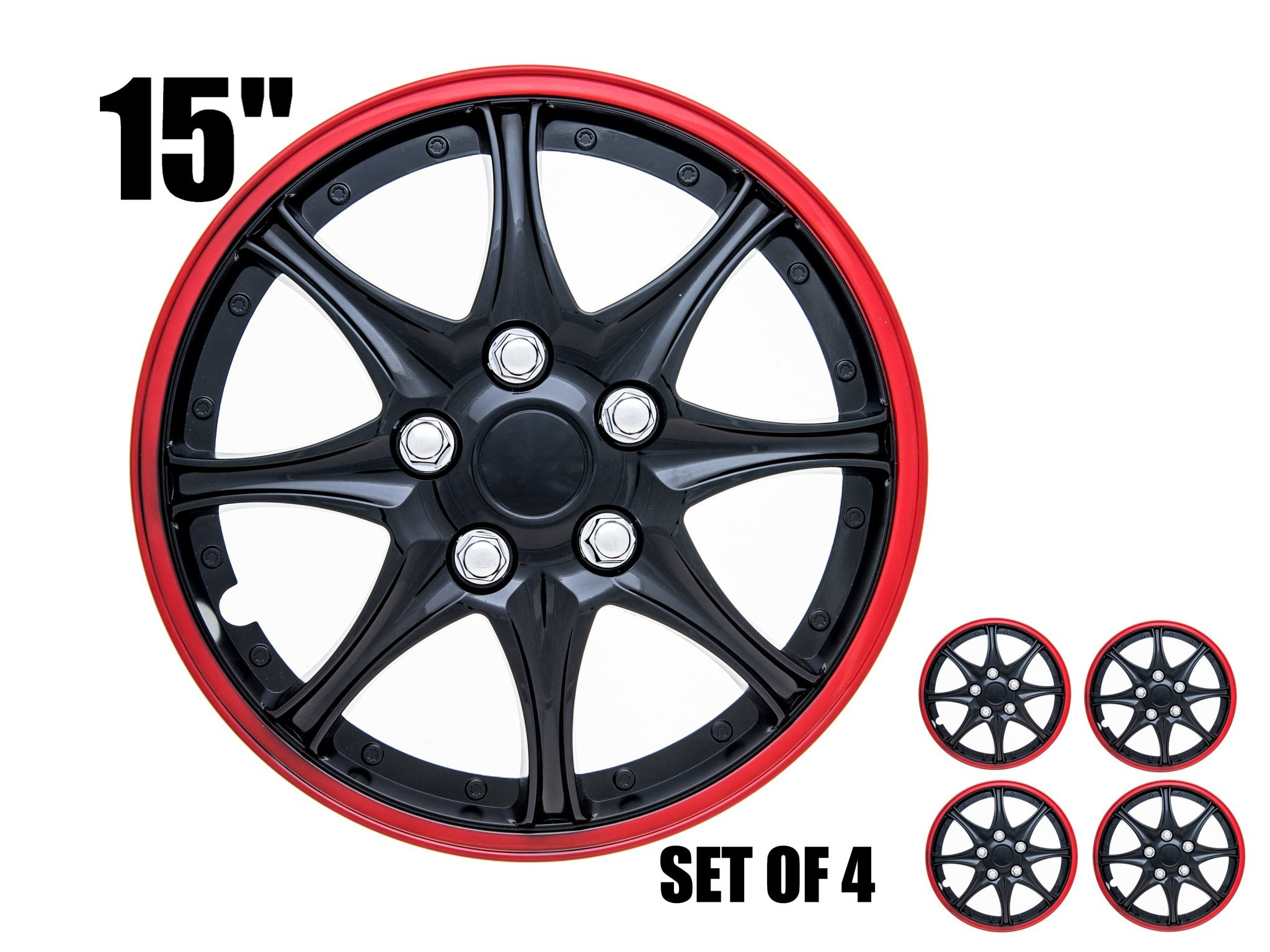"""SPA Hubcaps for Standard Steel Wheels Wheel Covers (Snap On) (Pack of 4) (Fits 15"""" Inch Wheel, Blue & Black)"""