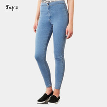 2015 New Arrival Wholesale Woman Denim Pencil Pants Top Brand Stretch Jeans High Waist Pants Women High Waist Jeans